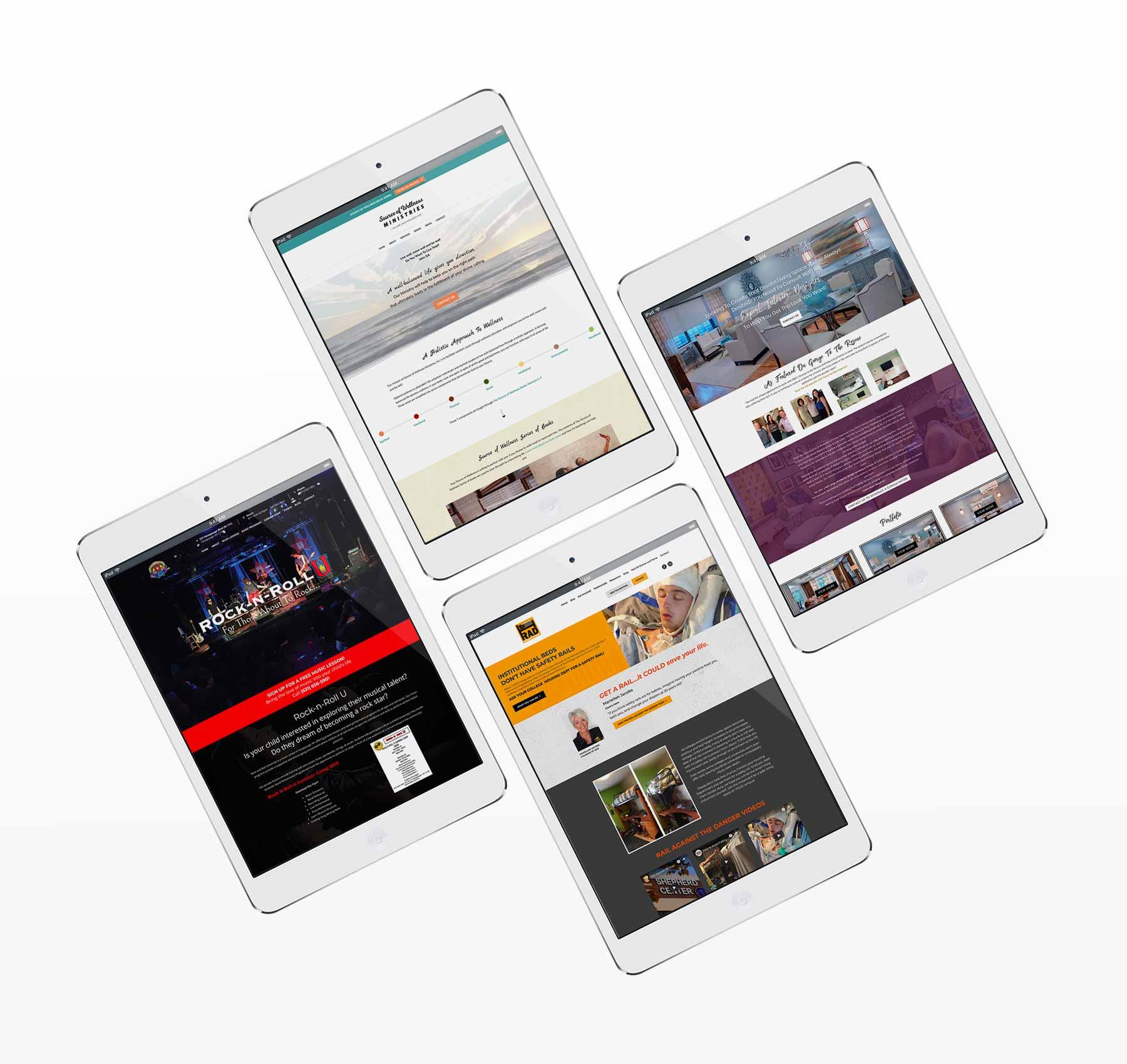 Photo of 4 tablet mockups of responsive design.